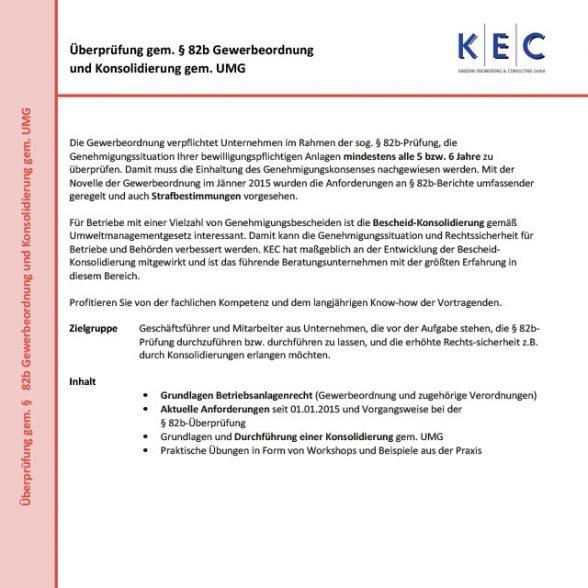 Überprüfung gem. § 82b Gewerbeordnung und Konsolidierung gem. UMG