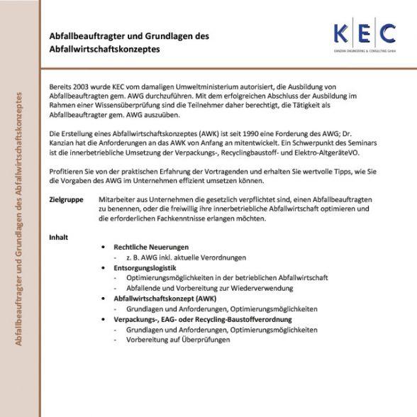 Abfallbeauftragter und Grundlagen des Abfallwirtschaftskonzeptes