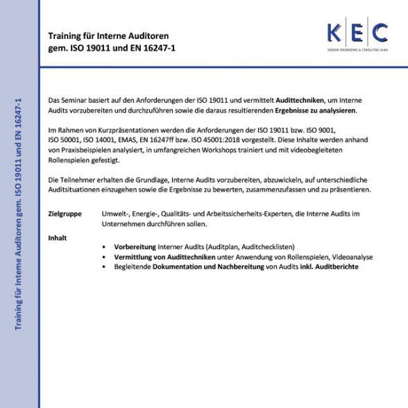 Training für Interne Auditoren gemäß ISO 19011 und EN 16247-1 (Modul 2)