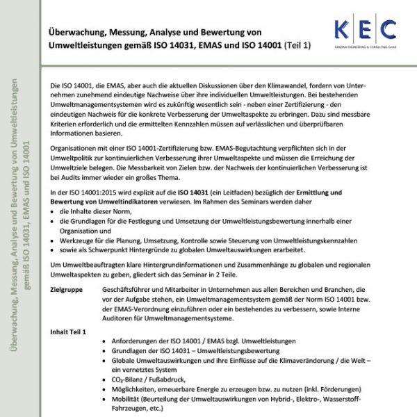 Bewertung von Umweltleistungen gemäß ISO 14031 und EMAS sowie ISO 14001, Teil 1