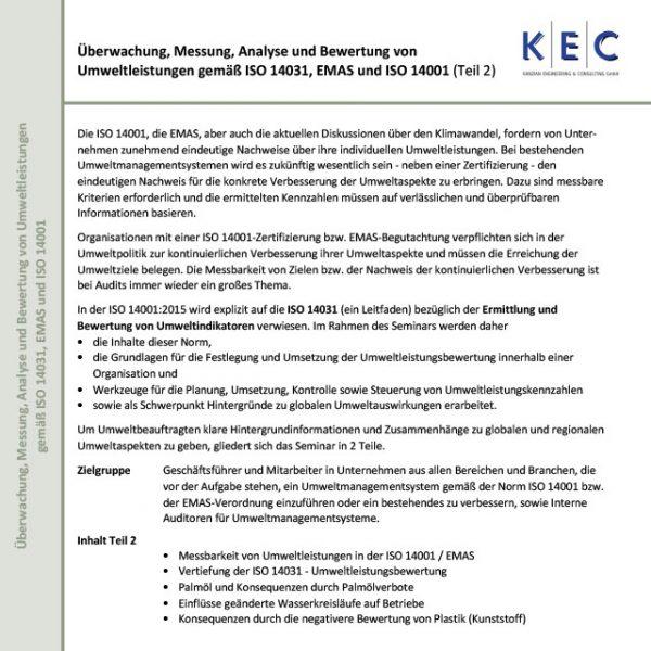Bewertung von Umweltleistungen gemäß ISO 14031 und EMAS sowie ISO 14001, Teil 2