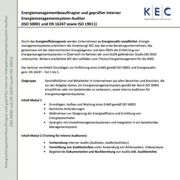 Energiemanagementbeauftragter und geprüfter Interner Energiemanagementsystem-Auditor (Modul 1)