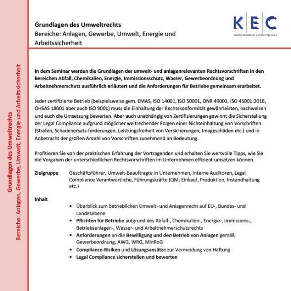Grundlagen des Umweltrechts (Bereiche: Anlagen, Gewerbe, Umwelt, Energie und Arbeitssicherheit)