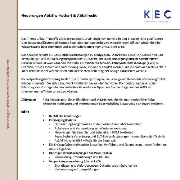Neuerungen Abfallwirtschaft & Abfallrecht