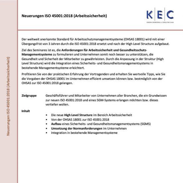 Neuerungen ISO 45001:2018 Arbeitssicherheit