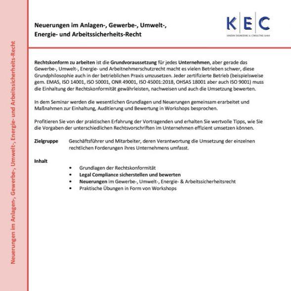 Neuerungen im Anlagen-, Gewerbe-, Umwelt-, Energie- und Arbeitssicherheits-Recht