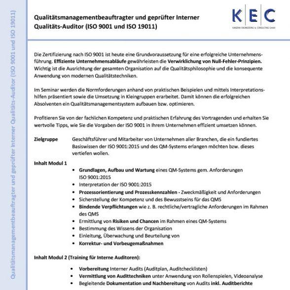Qualitätsbeauftragter und geprüfter Interner Qualitäts-Auditor (ISO 9001 und ISO 19011) (Modul 1)