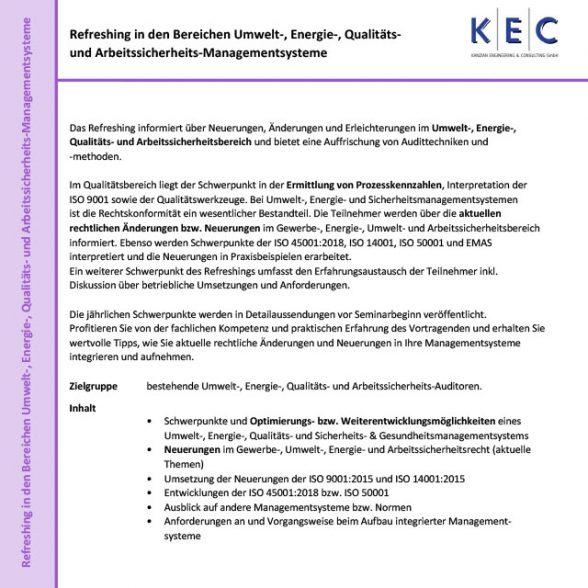 Refreshing Umwelt-, Energie-, Qualitäts- & Arbeitssicherheits-Managementsysteme