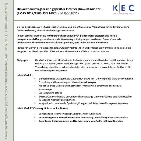 Umweltbeauftragter und geprüfter Interner Umwelt-Auditor (EMAS 2017/1505, ISO 14001 und ISO 19011) (Modul 1)
