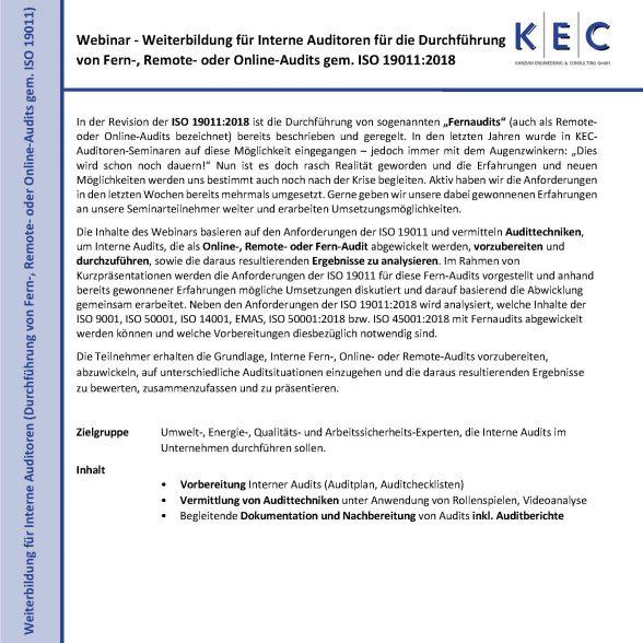 Webinar – Durchführung von Fern-, Remote- oder Online-Audits gem. ISO 19011:2018