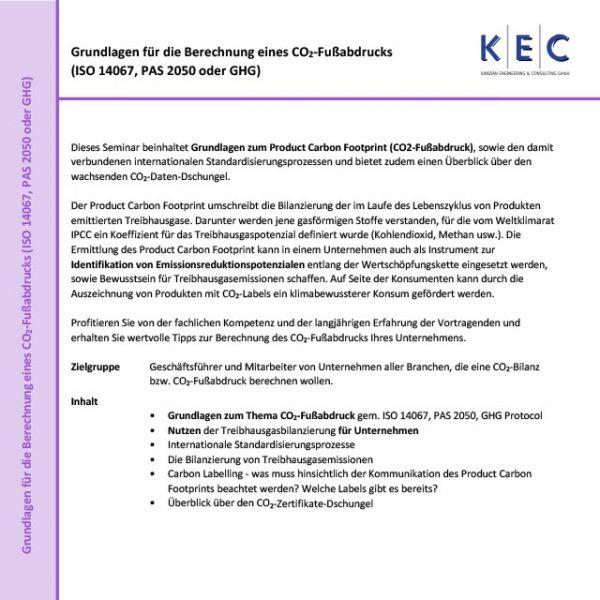 Grundlagen für die Berechnung eines CO2-Fußabdrucks (ISO 14067, PAS 2050 oder GHG)