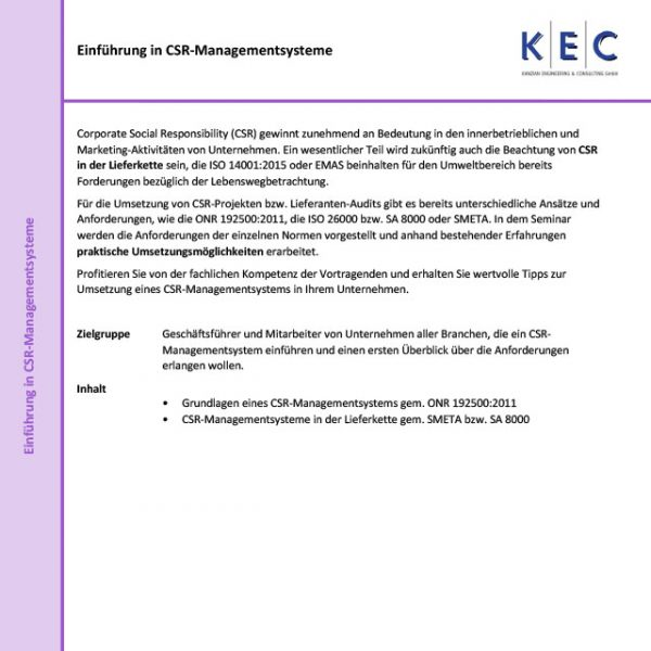 Einführung in Corporate Social Responsibility (CSR) Managementsysteme