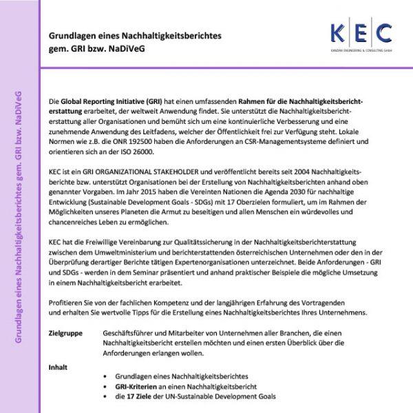 Grundlagen eines Nachhaltigkeitsberichtes gemäß GRI bzw. NaDiVeG