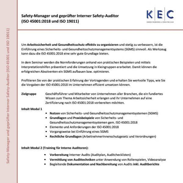 Safety-Manager und geprüfter Interner Safety-Auditor (ISO 45001:2018 und ISO 19011)