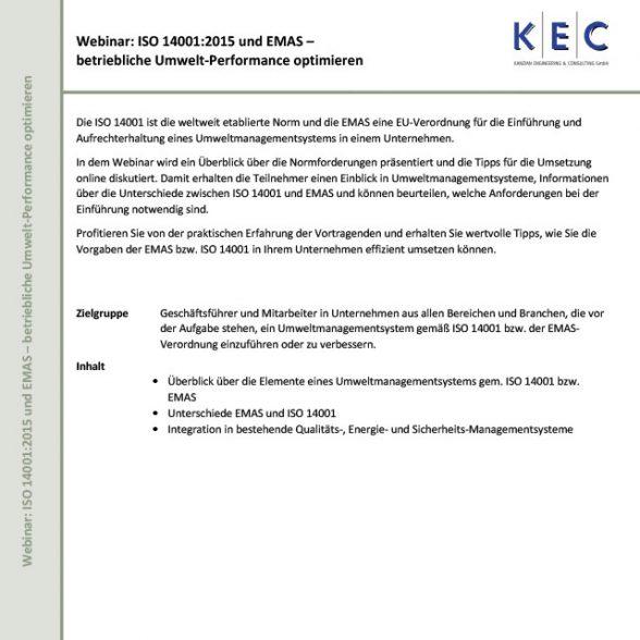 Webinar: ISO 14001:2015 und EMAS – betriebliche Umwelt-Performance optimieren