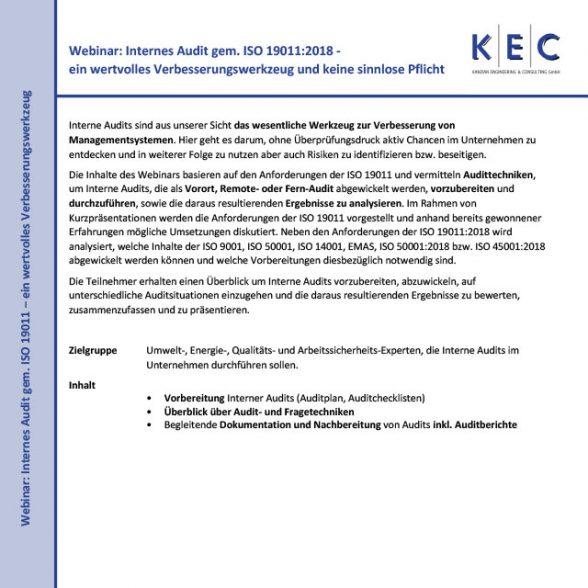 Webinar: Internes Audit gem. ISO 19011:2018 – ein wertvolles Verbesserungswerkzeug und keine sinnlose Pflicht