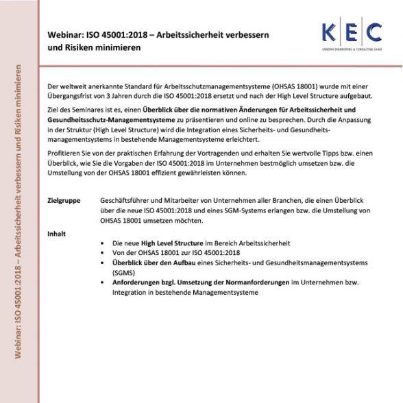 Webinar: ISO 45001:2018 – Arbeitssicherheit verbessern und Risiken minimieren