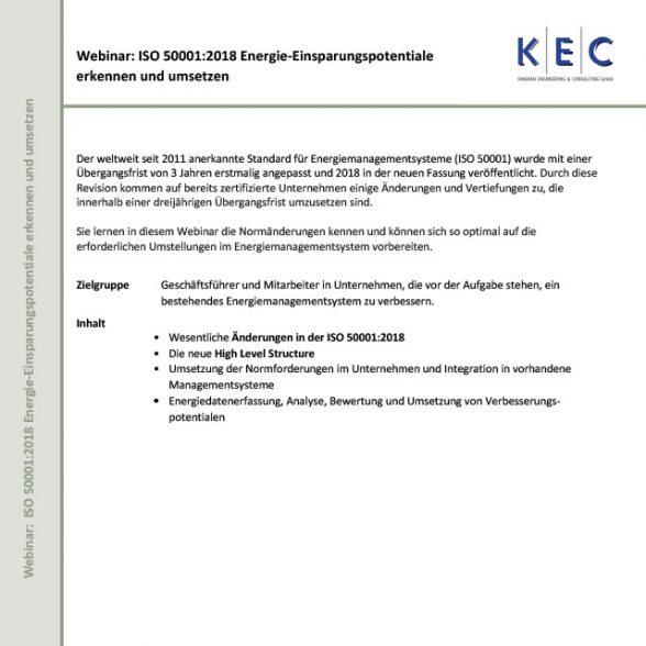 Webinar: ISO 50001:2018 – Energie-Einsparpotentiale erkennen und umsetzen