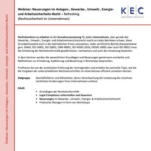 Webinar: Neuerungen im Anlagen-, Gewerbe-, Umwelt-, Energie- und Arbeitssicherheits-Recht