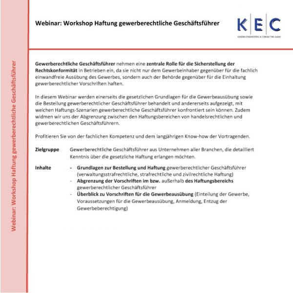 Webinar: Workshop Haftung gewerberechtlicher Geschäftsführer