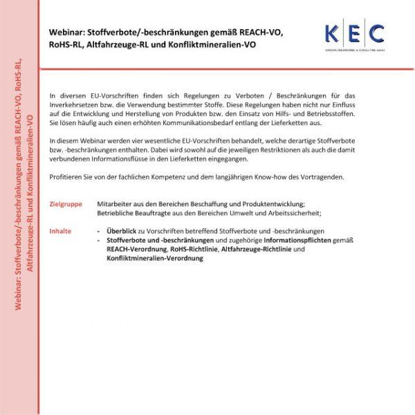 Webinar: Stoffverbote/-beschränkungen und zugehörige Informationspflichten