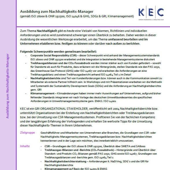 Ausbildung zum Nachhaltigkeits-Manager (gemäß CSR, SDGs, ISO 26000 und GRI)